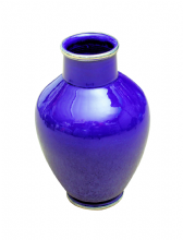 Moroccan Vase Safi Ceramic Blue Cobalt with Silver Border Handmade Classical Design 30cm 12""